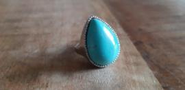 Ring turquoise, maat 18