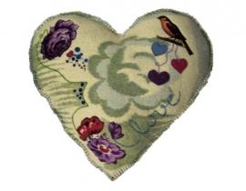 Vintage kussen Hart groen 2