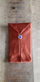 Opbergzakje / hoesje van oude stropdas 09 oranje blauw