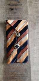 Opbergzakje / hoesje van oude stropdas 07 oranje bruin zwart