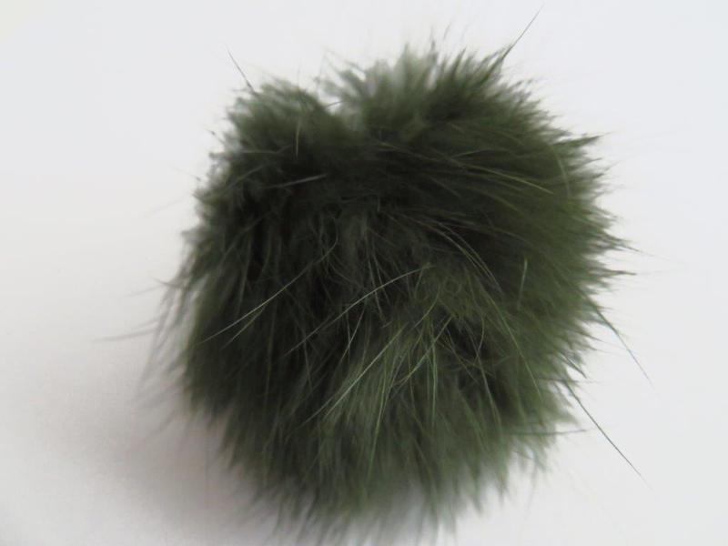 Pompon van bont - donkergroen (10 stuks)