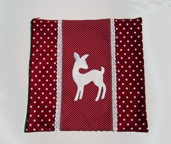 Kussenhoes Bambi rood zilver