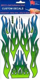 Vinylvel  *Flames Groen / Blauw*  1:10 - 12