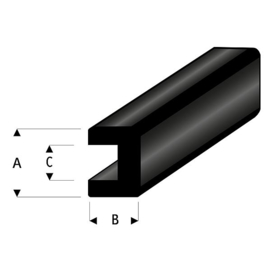 Rubber stootrand 104-50 (2x2mm - 2mtr)