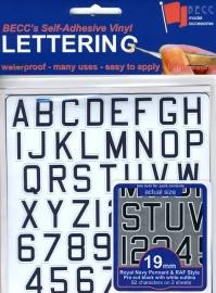 Cijfer / Letter vel *Pen RN*  Hoogte 19 MM