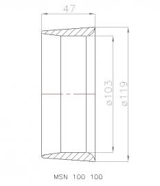 MSN 100 100 Straalbuis, geschikt voor schroef  Ø 100 mm