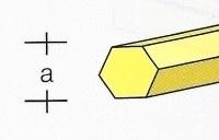 AE7742-71  Messing  Zeskant Profiel  2,0 MM  (3x 33 cm)