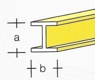 AE7749-17  Messing  H-Profiel  4,5 x 4,5MM  (3 x 33 cm)