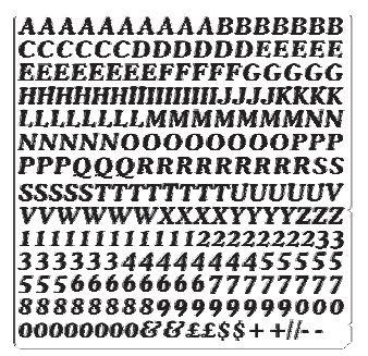 Vinyl Cijfer / Letter vel *COOPER* Hoogte 10 MM
