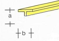 AE7748-84  Messing  Half T-Profiel  5,0 x 3,0MM  (3 x 33 cm)
