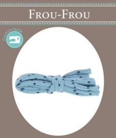 FROU FROU Spaghettikoord - 7 mm sterren blauw - per 10 cm