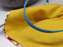 """Maat """"M"""" - Birds-  geel binnenmasker - felbauw  lint"""