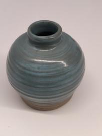 Minivaasje 9 - kleur zacht turquoise - handwerk - gestempeld