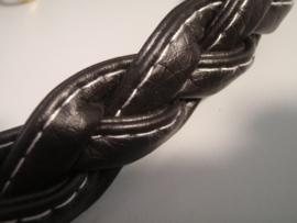 Handtasbeugel kort gevlochten enkel 47,5 cm imitatieleder bruin