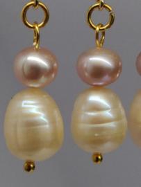 Oorbellen met dubbele parel, zachtrose en wit