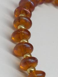 Armband in honingkleurig Boheems glas