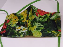 """Maat """"M"""" - flowergarden-  geel binnenmasker - groen lint"""