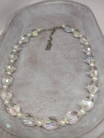 Halssnoer -   Kristal met zoetwaterparels
