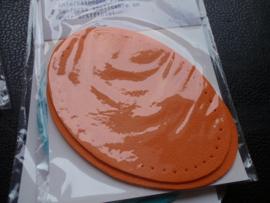 Knie- of ellebooglapjes in kunstleer knein formaat 6x9 cm - oranje