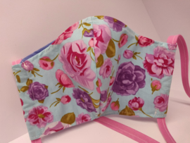 """Maat """"M"""" - roosjes-  blauw binnenmasker - roze  lint"""