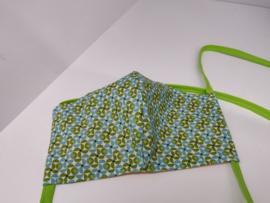 """Maat """"L"""" - Green dazzling-  geel binnenmasker - groen lint"""