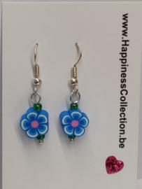 """Oorbellen """"bloemetjes blauw"""""""