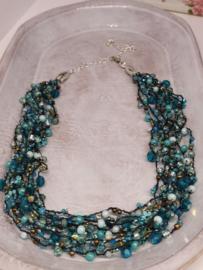 Multi Layer Halssnoer -   Turquoise