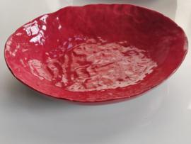 """Handgevormde schaal - """"Fire engine Red"""""""" ovaal   +/- 22 X 17 cm"""