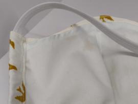 "Maat ""M"" - luxe uitvoering""golden flight"" crème- wit binnenmasker  - wit lint - Limited edition"