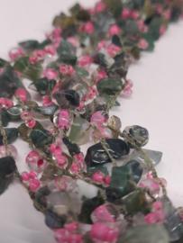 Multi Layer Halssnoer -  Japanse kerselaar donker - Groen /roze