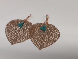 DQ oorbellen coppergold heartleaf