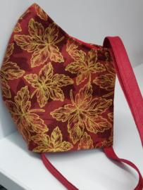 """Maat """"M"""" - luxe uitvoering """"golden leaf"""" - rood binnenmasker  - bordeaux lint - Limited edition"""