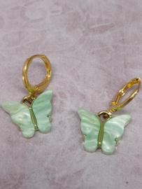 """Oorbel """"Butterfly"""" lichtgroen"""
