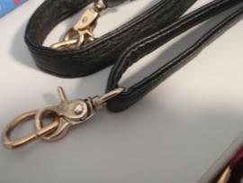Handtasbeugel lange schouderriem imitatieleder zwart