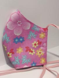 "Maat ""M"" - pink flower-  blauw binnenmasker - zalmkleurig  lint"
