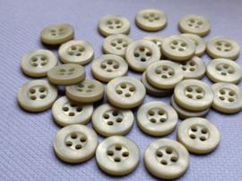 KA003 Knoop 4 gaatjes - 11 mm mosgroen satijnglans