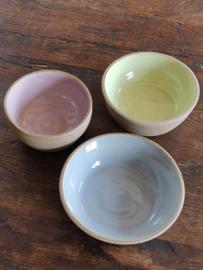 Set van 3 kommetjes in pastelkleurtjes