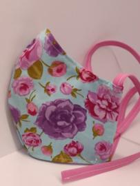 """Maat """"L"""" - roosjes-  blauw binnenmasker - roze  lint"""