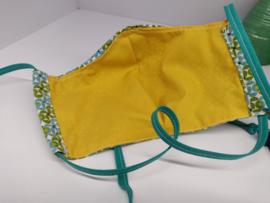 """Maat """"L"""" - Green dazzling-  geel binnenmasker - middengroen lint"""