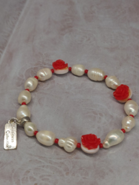 """Armband """"Pearls & Roses"""" rood"""