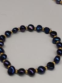 Parelarmband kobaltblauwe parels