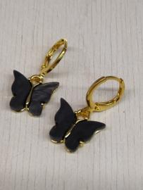"""Oorbel """"Butterfly"""" lila/zwart"""
