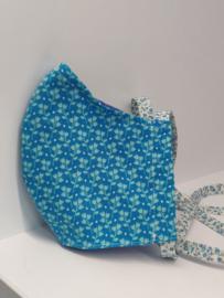 """Maat """"M"""" - blue flower-  blauw binnenmasker - bloemetjes lint"""