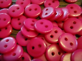 KA054 - rond knoopje 2 gaatjes 11 mm - fuchsia roze