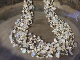 Multi Layer Halssnoer - Parels en kristal