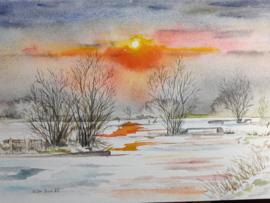 """""""Sneeuwlandschap"""" Aquarel 18 X 25 cm"""