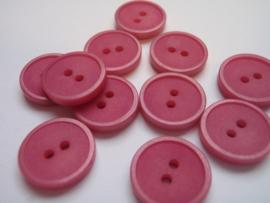 KA029 Knoop 2 gaatjes - 12 mm roze mat mer zeer fijn glanzend randje
