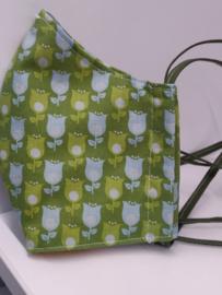 """Maat """"M"""" - Tulips -  wit binnenmasker - groen lint"""