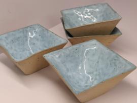 """Set  4 handgevormde kommetjes - """"speckled Fjords blue"""""""