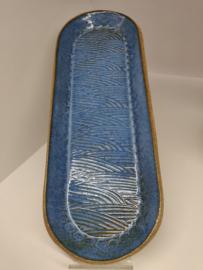 lange gebakjes/koekjes schotel - kleur Indigo flow - Japanse print lijnen